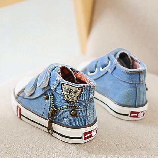 Niños Niñas Zapatillas de Tela, Moda Casuales al Aire Libre Zapatos Planas con Suela Blanda Comodos Clásicos Zapatillas de Lona de Mezclilla Unisex para ...