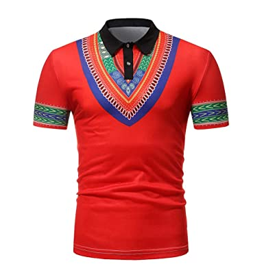 Bestow Camisa de Solapa de Manga Corta Africana para Hombre Blusa para Hombre Blusa Informal: Amazon.es: Ropa y accesorios