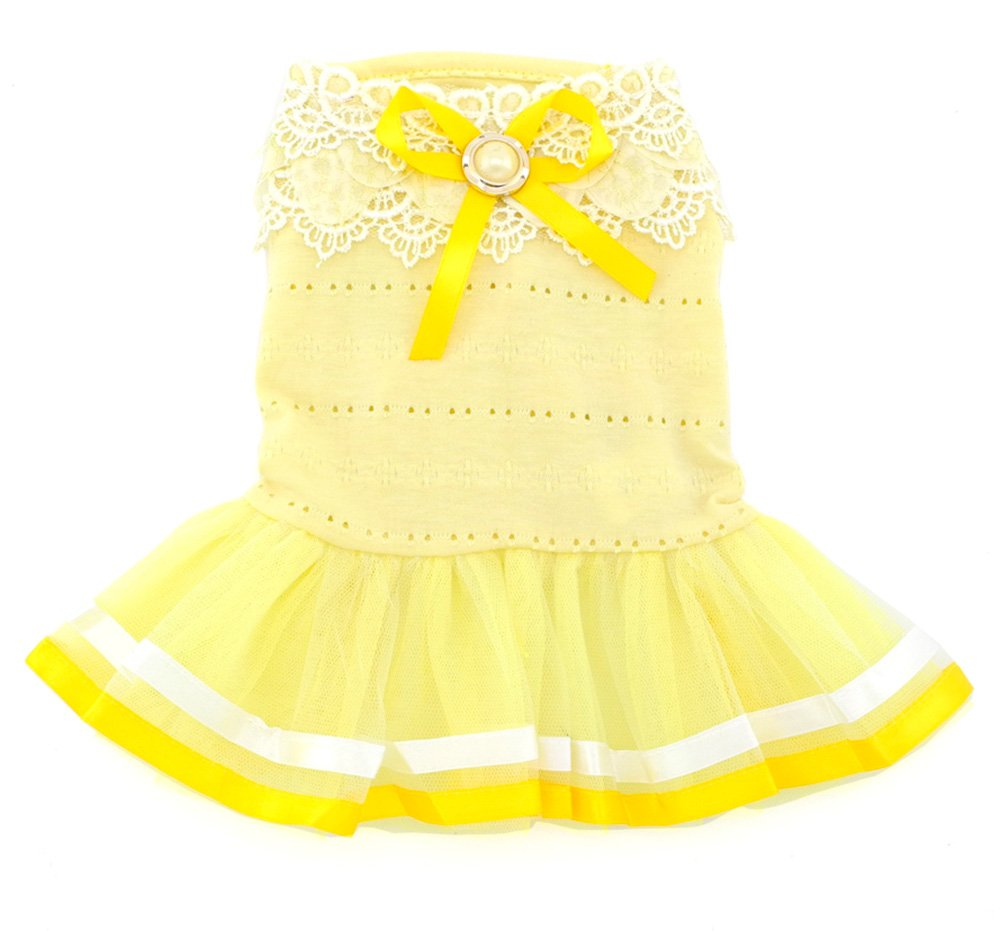 SMALLLEE_LUCKY_STORE Pet Small Dog Puppy Cat Clothes Coat Costume Cotton Petal Collar Priness Dress Tutu Ribbon Trim Yellow M