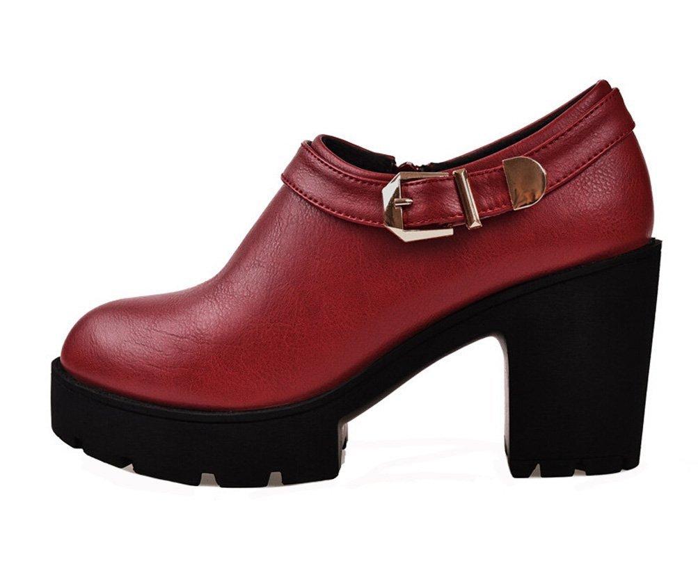DunHu Women Fashion Dress Shoe Elegant Leather Business Casual Shoe Red 8M US by DUNHU
