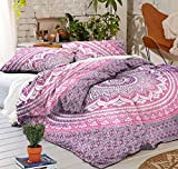 Indian Duvet Cover Pink Ombre Mandala Hippie Bohemian Queen Quilt Blanket Cover