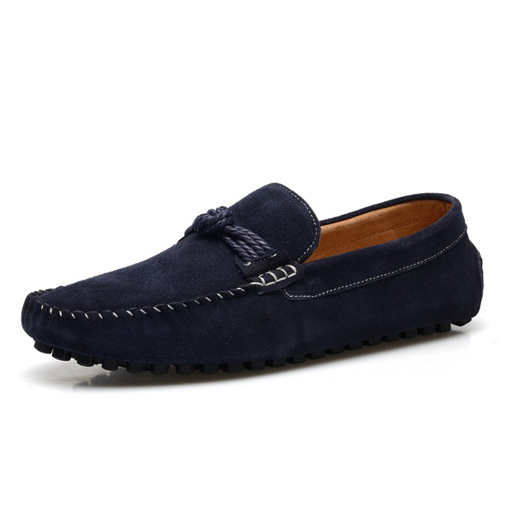 HYF Men's Driving Penny Moccasins Hemp Rope Decor Genuine Leather Slip-on Loafers Dress Shoes Business Shoes for Men (Color : Navy, Size : 7.5 MUS)