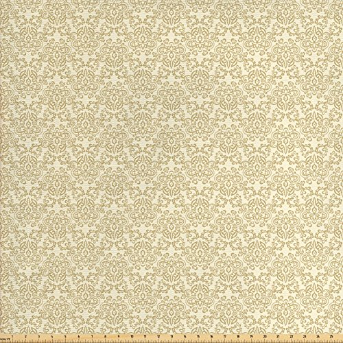 Ambesonne Beige Fabric by The Yard, Vintage Damask Inspirations Foliage Arrangement with Swirls and Curves Retro Pattern, Decorative Fabric for Upholstery and Home Accents, Tan Beige