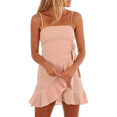 Misaky Womens Sweet Dresses-Summer Spaghetti Strap Chiffon Mini Dress (S, Orange)