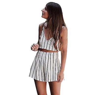 8d76a85533bd Longay Women 2 Pieces Set V Neck Tanks Tops Backless Bow Tie Stripes Romper  Jumpsuit (XL): Amazon.co.uk: Clothing