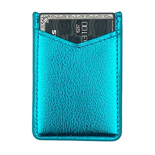 Phone Card Holder uCOLOR PU Leather Wallet Pocket Credit Card ID Case Pouch 3M Adhesive Sticker on Phone Samsung Galaxy Android Smartphones(fit for 4.7 Phone or Above) (Turquoise)