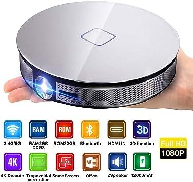 Proyector, Mini Proyector 4K portátil Teléfono móvil Video HD ...