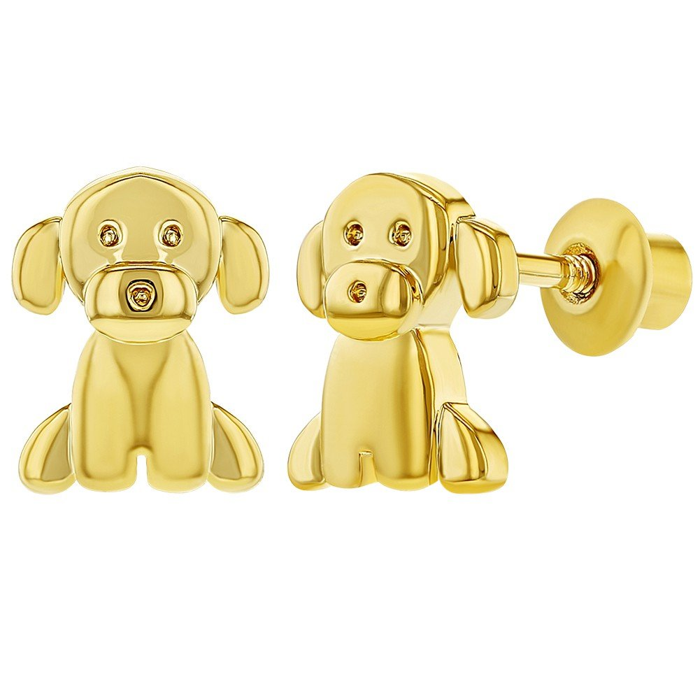 18k Gold Plated Puppy Doggy Dog Earrings with Screw On Backs for Toddlers In Season Jewelry 03-0338-A