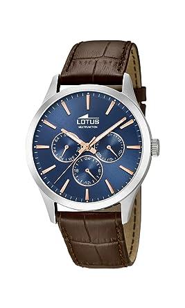 Lotus Watches Reloj Multiesfera para Hombre de Cuarzo con Correa en Cuero 18576/5: Amazon.es: Relojes