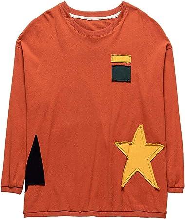 SADF Suéter, Camiseta De Algodón para Mujer, Manga Larga, Manga Suelta, Camisa Delgada con Efecto De Contraste De Color para Mujer, Xl170Cm: Amazon.es: Hogar