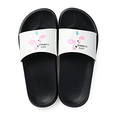 f0b2f085070f7c Image Unavailable. Image not available for. Color  Fashion Summer Women  Slides Flamingo Cartoon Lovely Beach Slippers ...