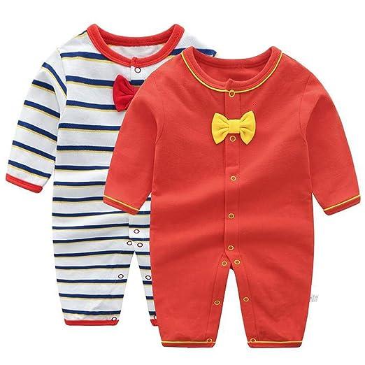 Pijama para Bebé 2 piezas Niños Niñas Pelele Manga Larga Mameluco Mono Body Algodón Trajes 0-3 Meses: Amazon.es: Bebé