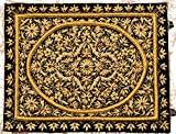 Jet-Black Handcrafted Decorative Jewel Wall Hanging with Intricate Zardozi Hand-Embroidery - Velvet