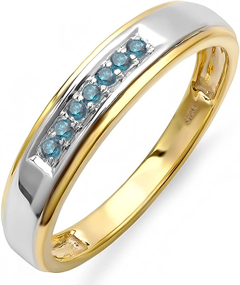 Dazzlingrock Collection 0.12 Carat (ctw) 18K Yellow Gold Plated Sterling Silver Round Blue Diamond Men's Seven Stone Wedding Band