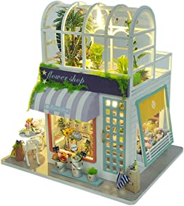 WYD DIY 2-Layer Gardening House Model Rooftop Sunshine Botanical Garden Flower House DIY Wooden Green House Flower Shop Doll House Kit Craft Gift Toys