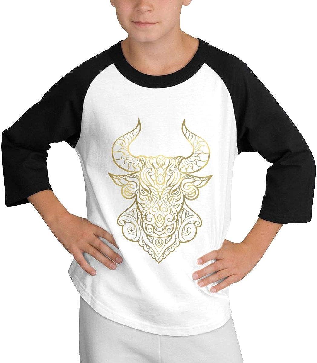 Qiop Nee Taurus Gold Raglan 3//4 Short-Sleeves T-Shirt Youth Girls Boys