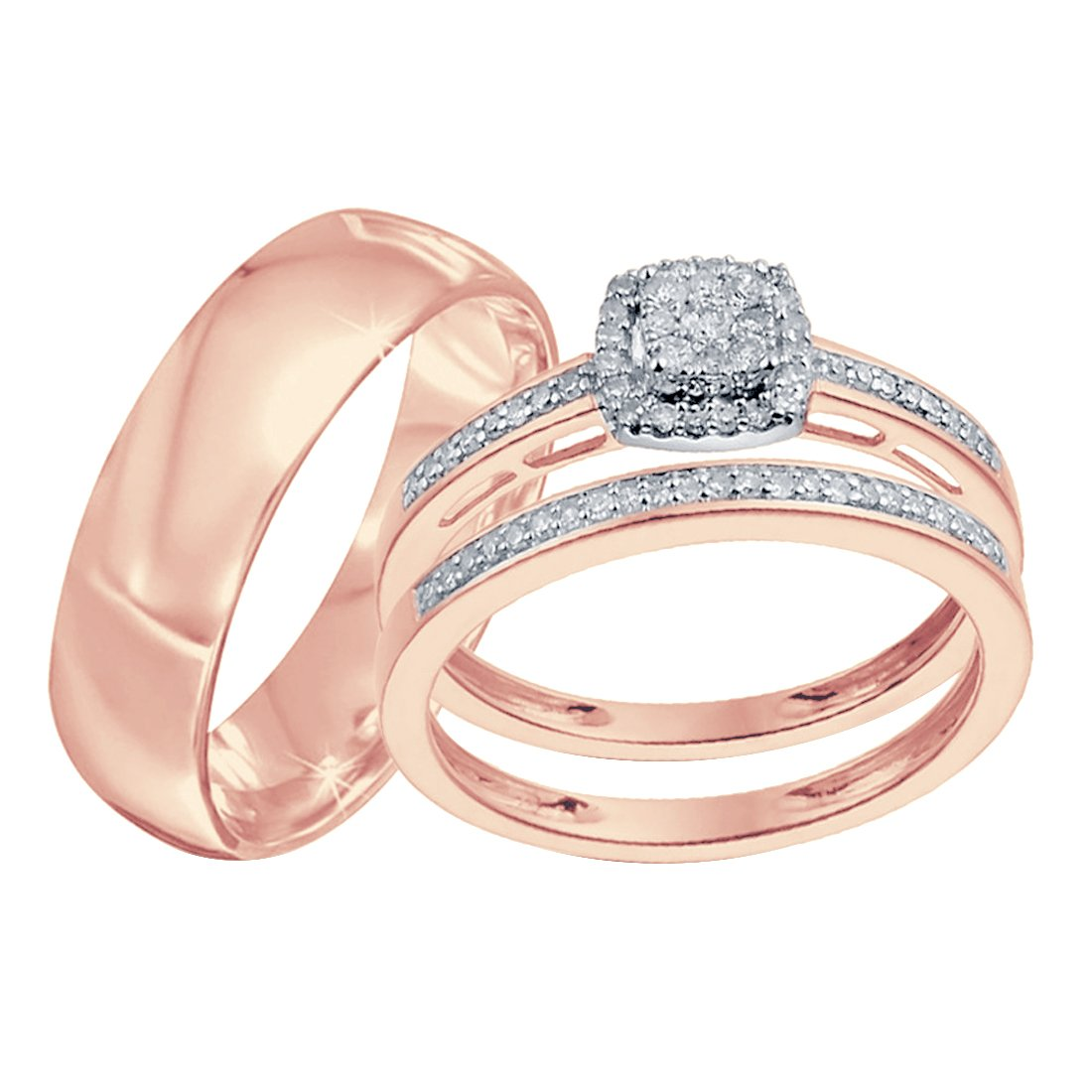 Silvercz Jewels Ladies D/VVS1 Diamond Trio Set Engagement Ring His And Her In 14K Rose Gold Fn