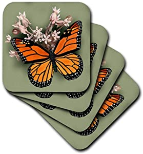 3dRose Monarch Butterfly and Pink Milkweed - Soft Coasters, Set of 4 (CST_212839_1)