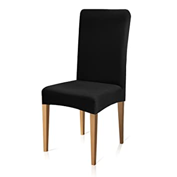 Subrtex Jacquard Stretch Chair Covers For Dining Room Washable Chair Protectors Universal Fitted Home Decor Set Of 4 Black