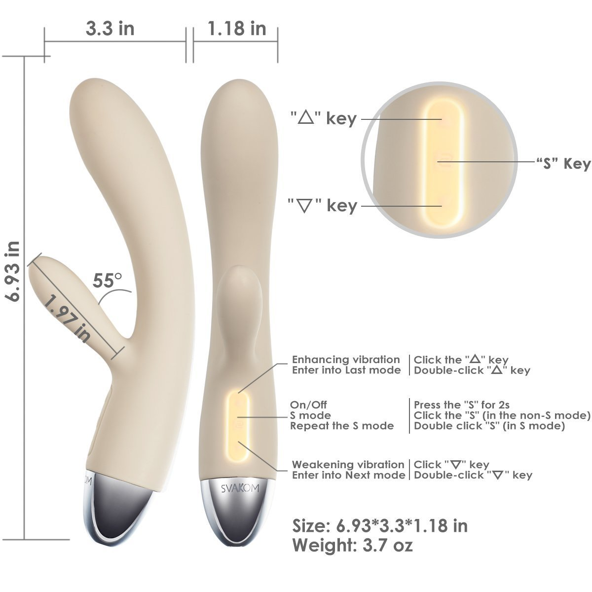 SVAKOM Rabbit Vibrator Rechargeable Personal Wand Massager with Touch Sensor