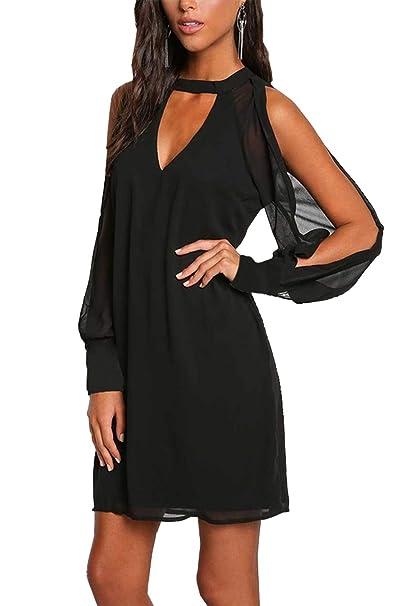 8423bc8c9c PWIHXHEN Women Casual Loose Fit Chocker V Neck Split Long Sleeve Tunic  Dresses (Black