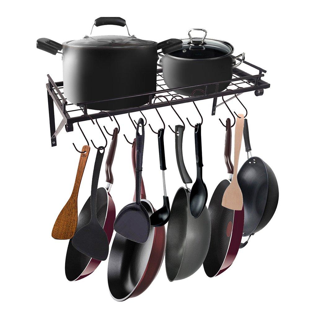 AcornFort® K-1112 Black Kitchen Racks, Wall Pot Pan Racks, Utensils Hanging Shelf With 10 Hooks YOYO INFO UK LTD