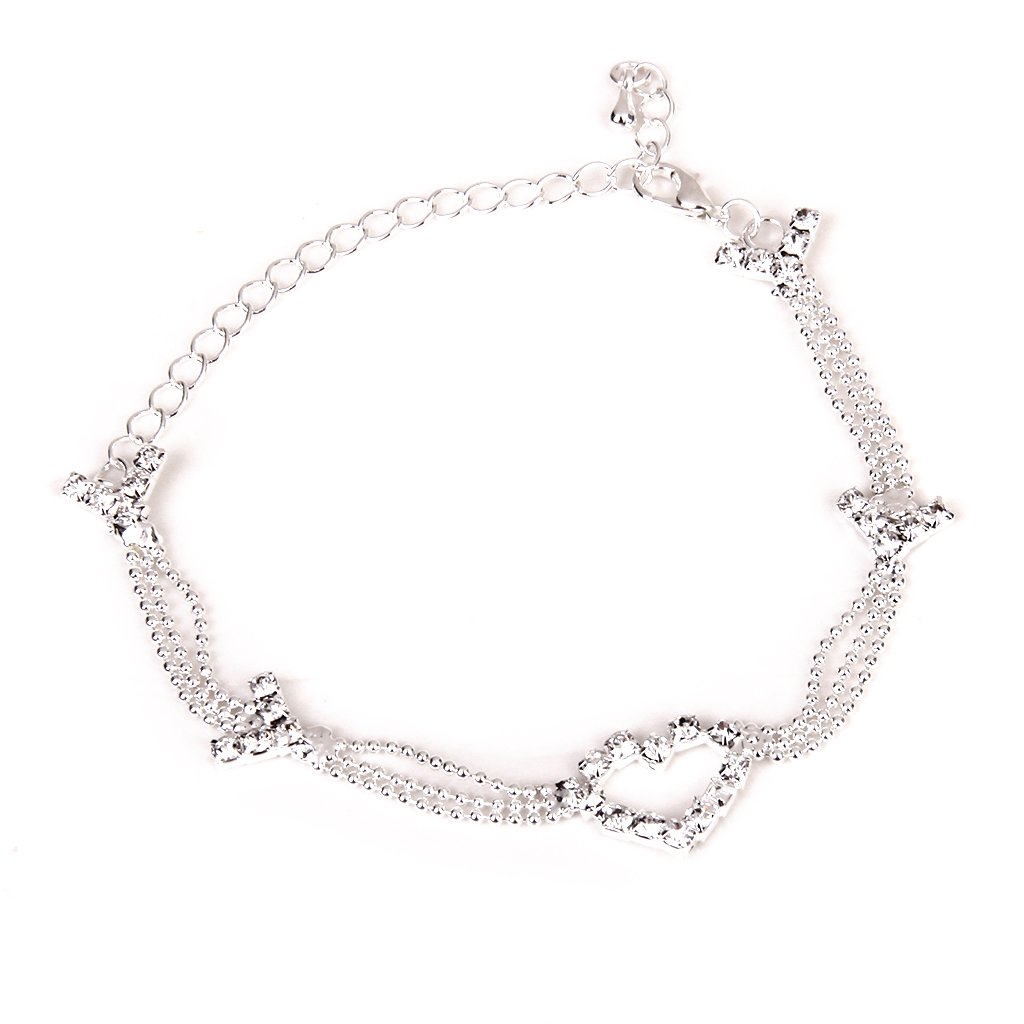 Lady Anklet Ankle Bracelet Beads Chain Crystal Rhinestone Heart Silver Generic STK0113008538