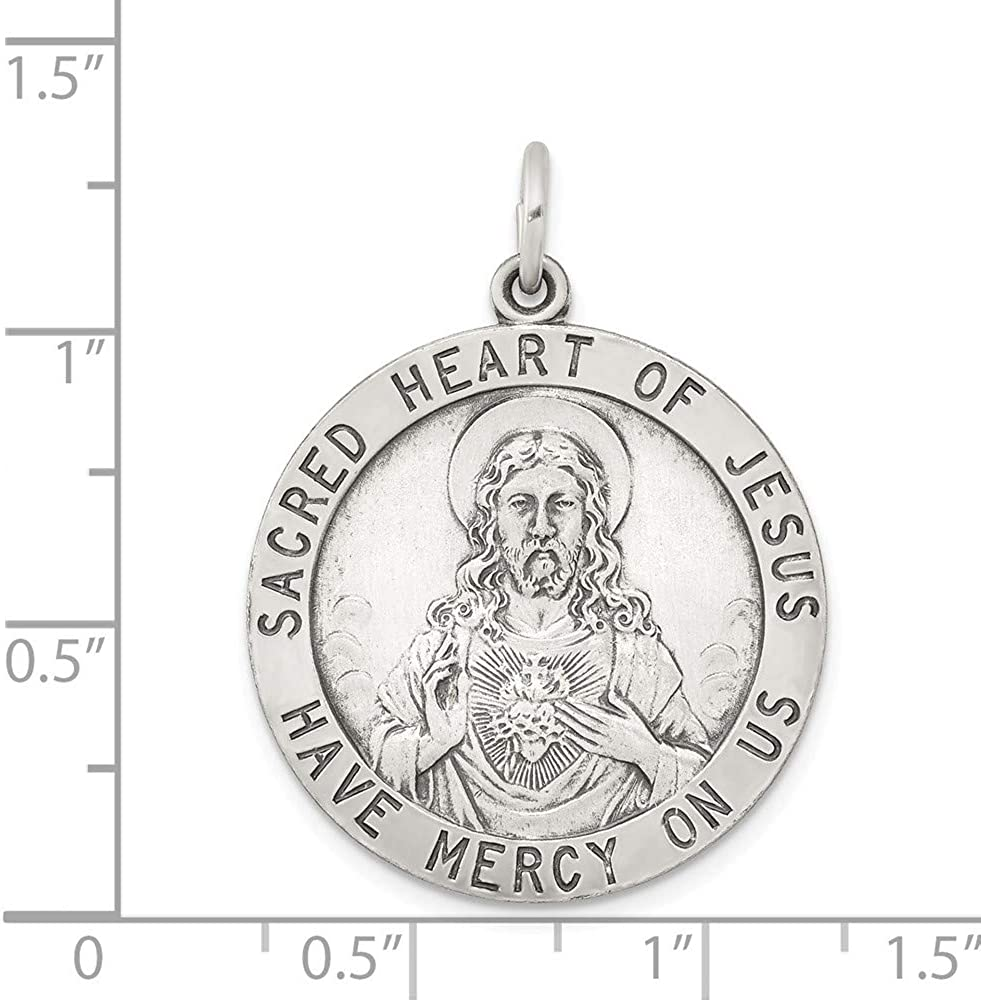 33mm x 25mm Solid 925 Sterling Silver Sacred Heart of Jesus Pendant Charm Medal