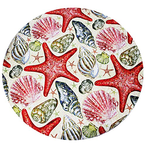 Whale Life - Round Beach Towel no Tassels, Beach Blanket Round, Super Soft, Lightweight, Quick-dry and Sand-free, Large 60 inches(Shells and Starfish) -