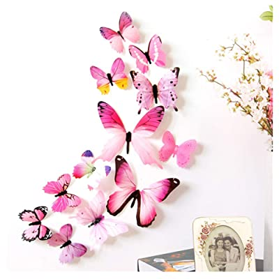 Stickers for Wall Stickers,12pcs Bright and Realistic 3D Butterfly Wall Stickers,Kids Room Decor (Pink): Arts, Crafts & Sewing
