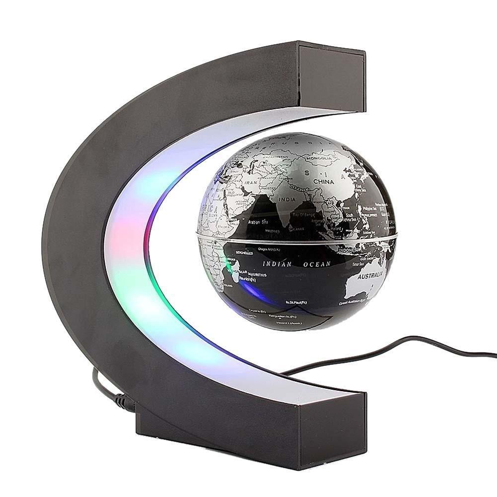 Aiomao Magnetic Rotating Floating Globe Floating Tellurion C Shape Electronic Magnetic Levitation Floating Globe Antigravity LED Light Gift Decoration (BLACK)