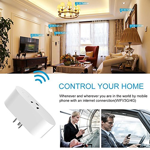 Wifi Smart Plug,Loneyshow Mini Smart Socket Work with Alexa/Echo dot Voice Control Timing Function Energy Monitoring No Hub Required Control Your Home from Anywhere for iOS Android Tablets(2 pack) by Loneyshow (Image #2)