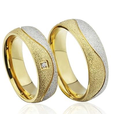 Edelstahl Paar Hochzeit Ringe Gold Silber Sandstrahlung Cz Adisaer