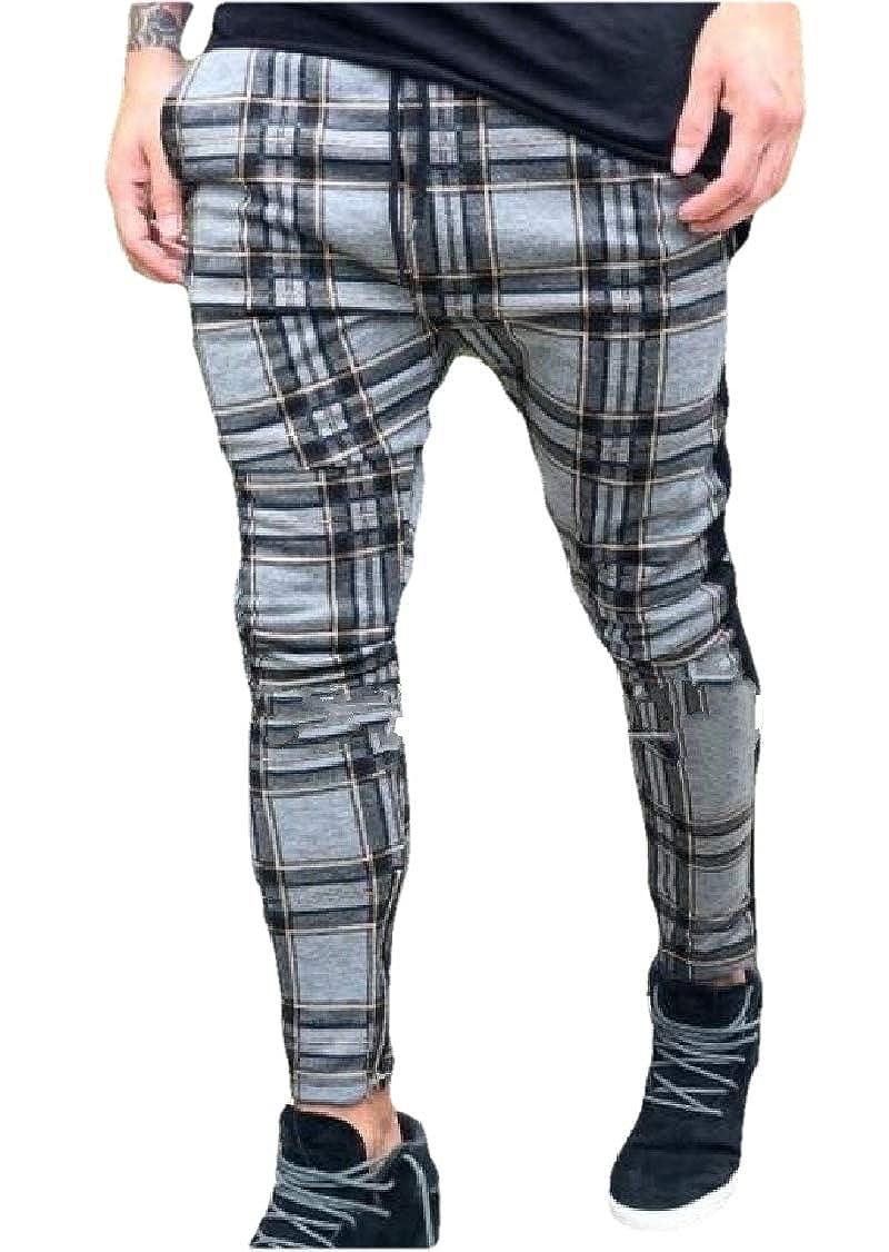 OTW Mens Elastic Waist Classic Hip-hop Drawstring Plaid Zip-Up Long Pants