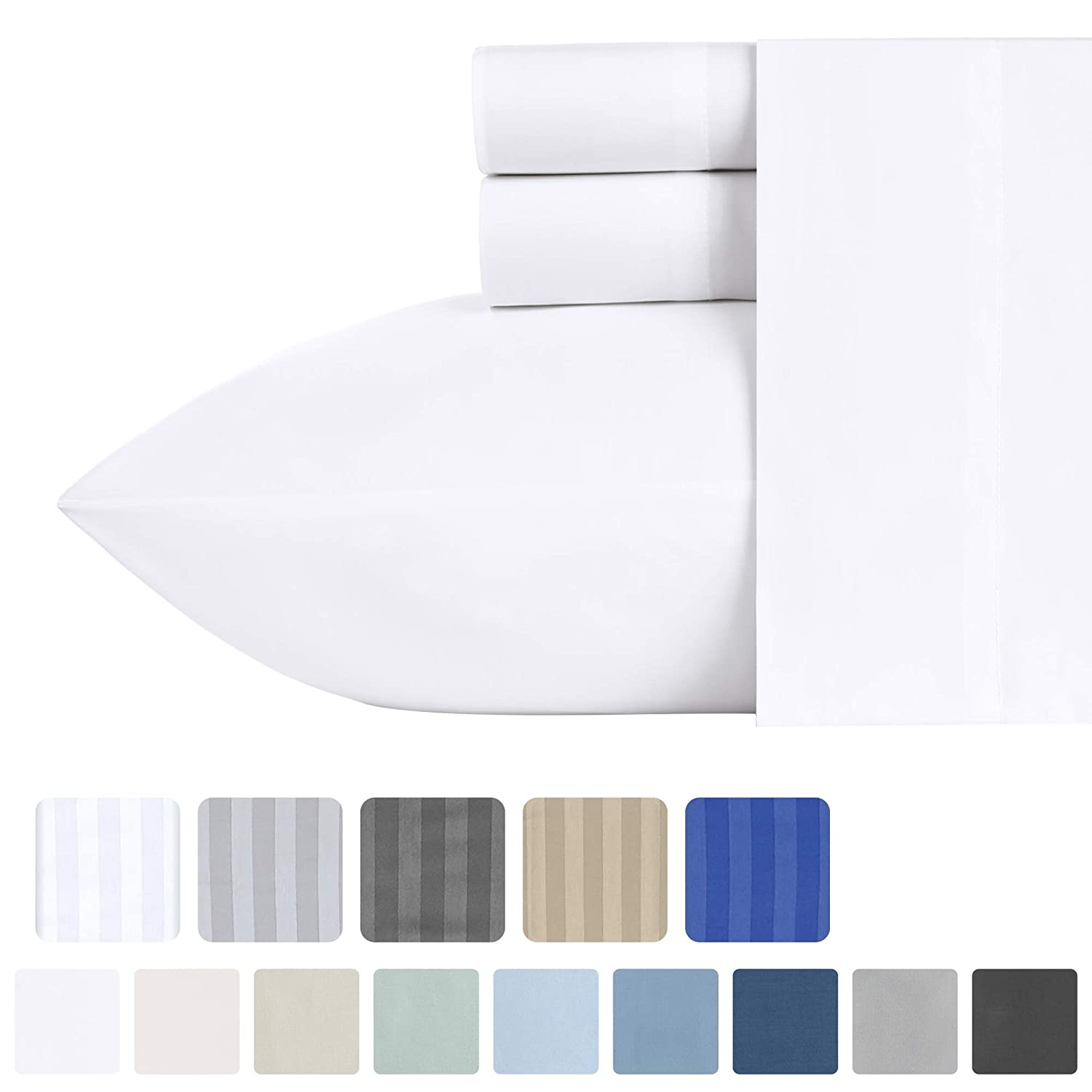 500-Thread-Count California King Woven Sheets - 100% Natural Cotton Pure White, 4 Piece Sateen Weave Bedding Set, Luxury Finish Soft Bed Sheets, Deep Pocket Fits Mattress Upto 18 Inches