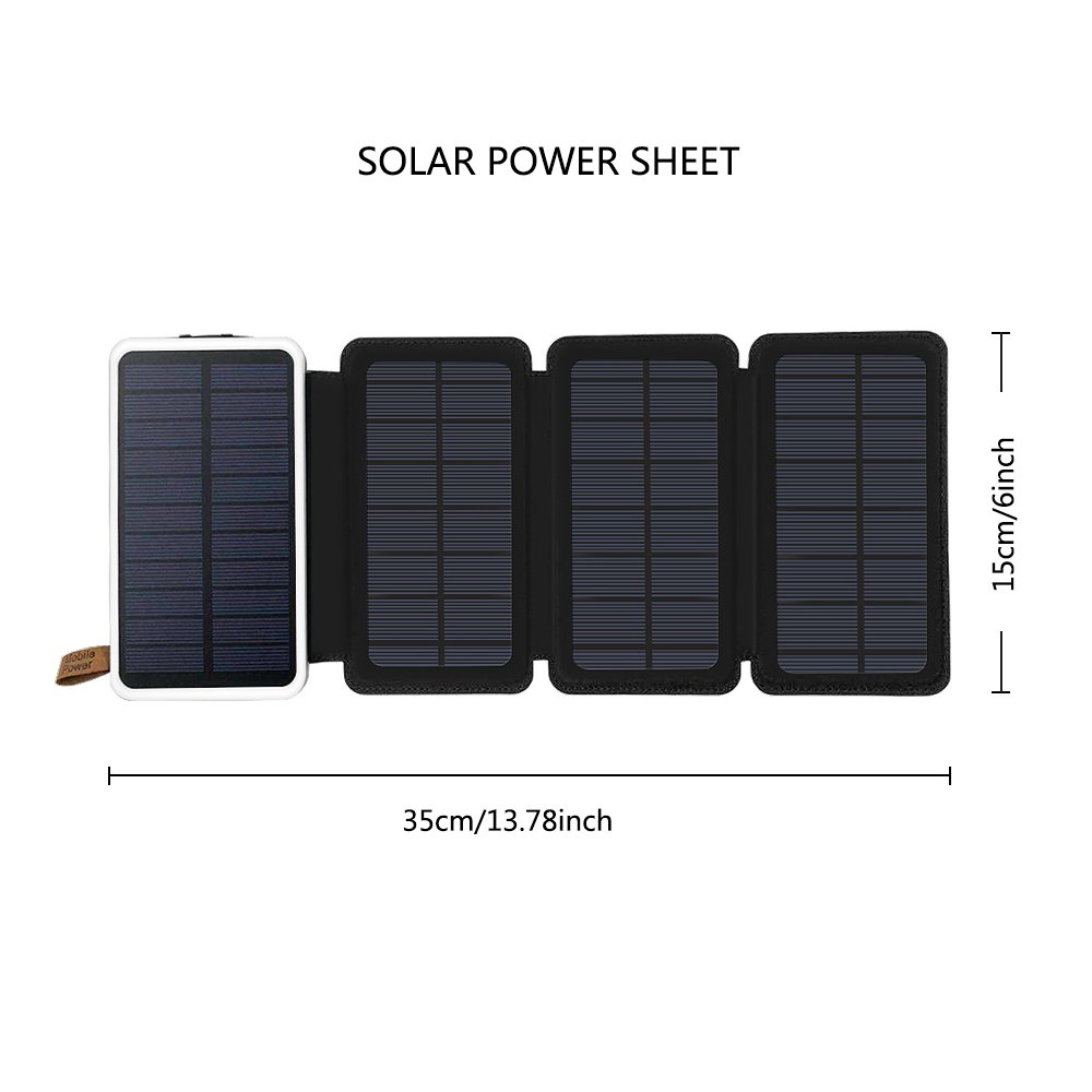 Solar Charger 10000mAh, AIRGINE Solar Phone Charger Dual USB Battery Charger Waterproof Foldable Phone Charger for Cell Phone and More(Black)
