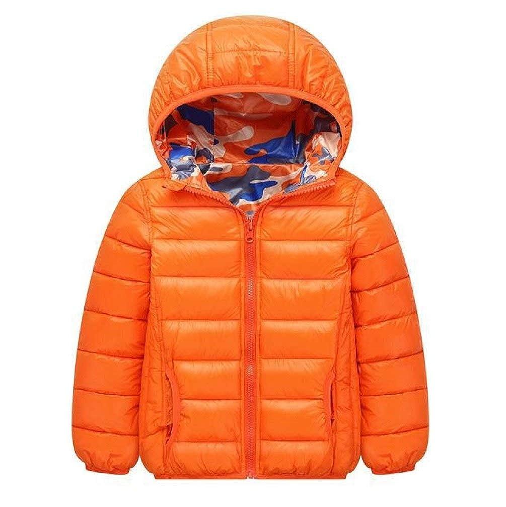 Boys Winter Thicken Camo Parka Toddler Padded Zip Hoodie Star Puffer Outwear Jacket Coat