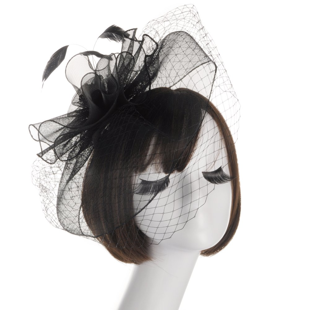 Urban CoCo Women's Flower Feather Mesh Veil Fascinator Cocktail Party Hair Clip Derby Hat (Black)