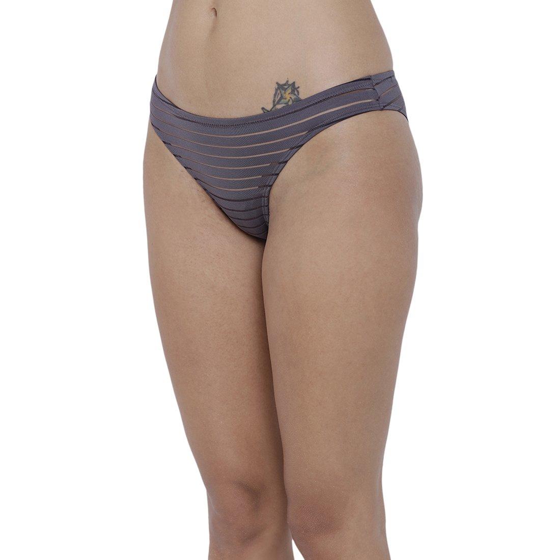 20e51ced26ff BASIICS by La Intimo Women's PolyMonoSpandex Travieso Naughty Brief  Panty_BCPBR02PG0_Petrol Grey: Amazon.in: Clothing & Accessories