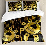 Ambesonne Poker Tournament Decorations Duvet Cover Set Queen Size, Gold and Black Poker Chips Gambling Club Currency Stack Wager, Decorative 3 Piece Bedding Set with 2 Pillow Shams, Gold Black