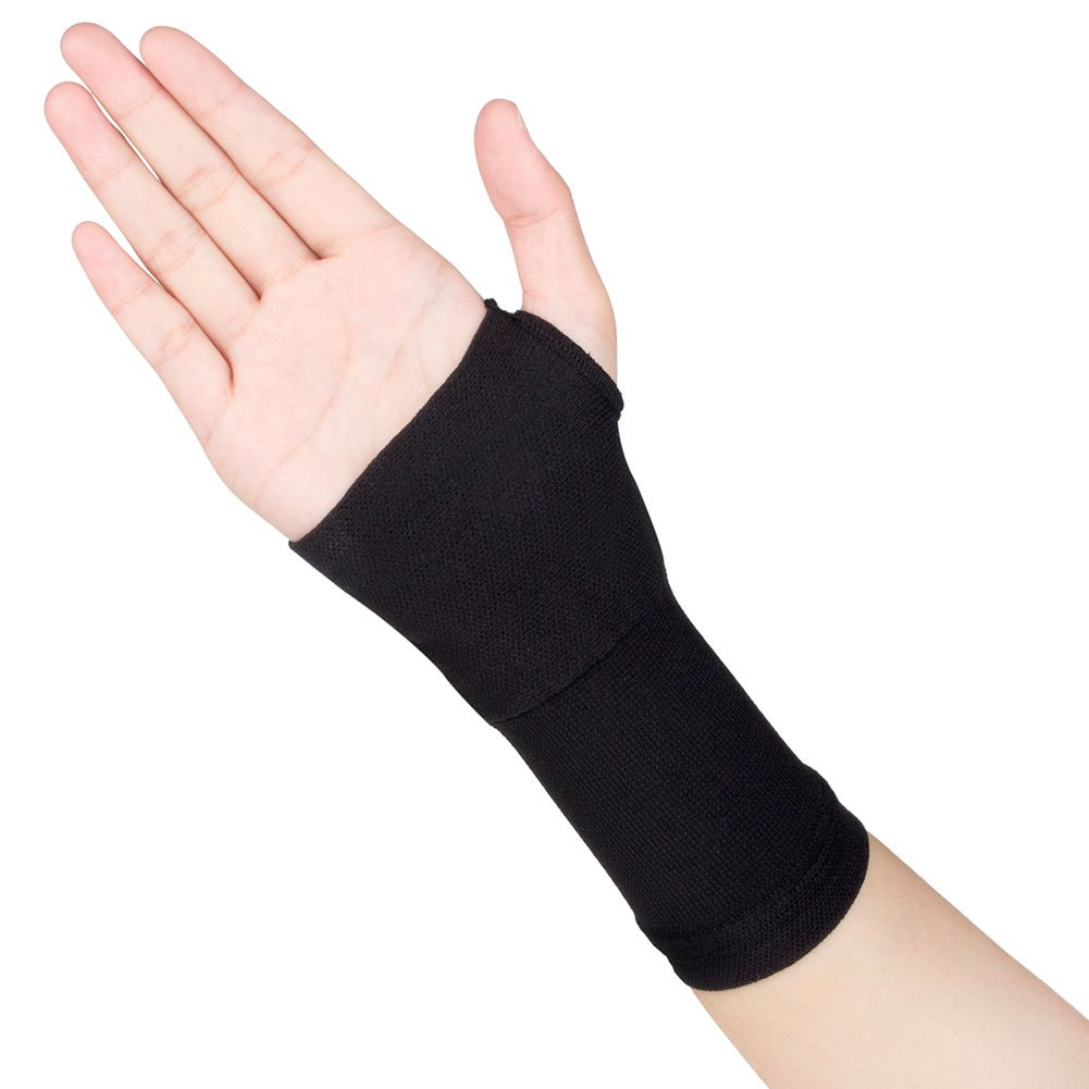 Spotbrace Medical Wrist Hand Support, 1 Pair Elastic Thin Palm Brace, Pain Relief Compression Sleeves for Wrist Swelling, Soreness, Loosing and Sprained Men Women(Black)-Fit Both Hands-S