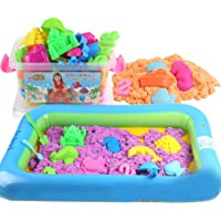 HALO NATION® Kids Kinetic Sand Box 17 pcs - Shapes Fun Mould Model with Inflatable Pit for Magic Sand (2KG)