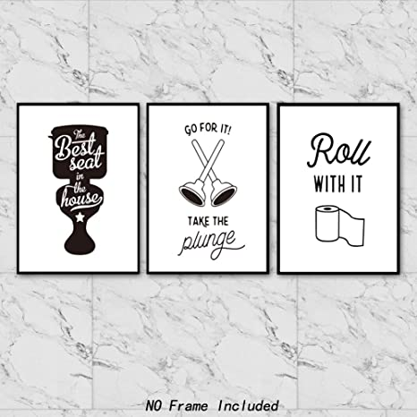 d458fe92f1d Chsdec Funny Words Quote Signs Art Prints for Bathroom Toilet(8x10 Inches  Set of 4-Unframed) Lettering Art Poster,Modern Washroom Picture Black and  White ...