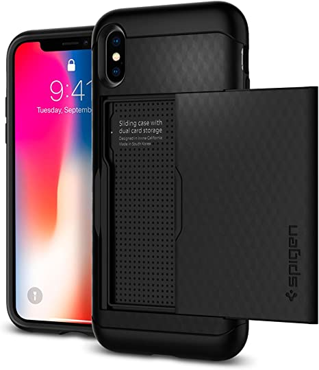 Spigen Custodia Cover a Libro per Apple iPhone X con porta Carte