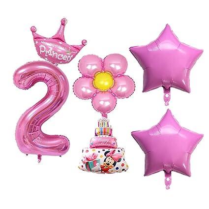 Amazon.com: Heyejet - Juego de 6 globos de 2 cumpleaños para ...