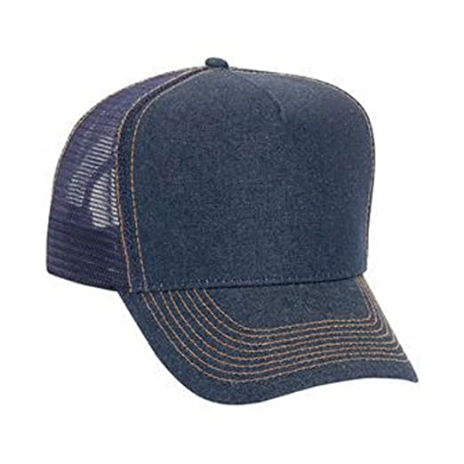 a05fc18e94a Otto Caps Denim Solid Color Five Panel High Crown Golf Style Mesh Back Cap