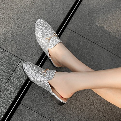 Women's Slip On YE Summer Shoes Slipper Closed Glitter Sliders Toe Silver Mule Flats g4dBdnq