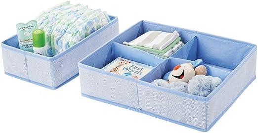 mDesign Juego de 2 cajas de almacenaje para habitación infantil o ...