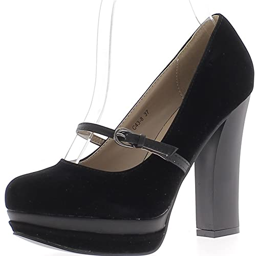 Escarpins noirs à talons de 11,5cm avec plateforme et bride aspect daim