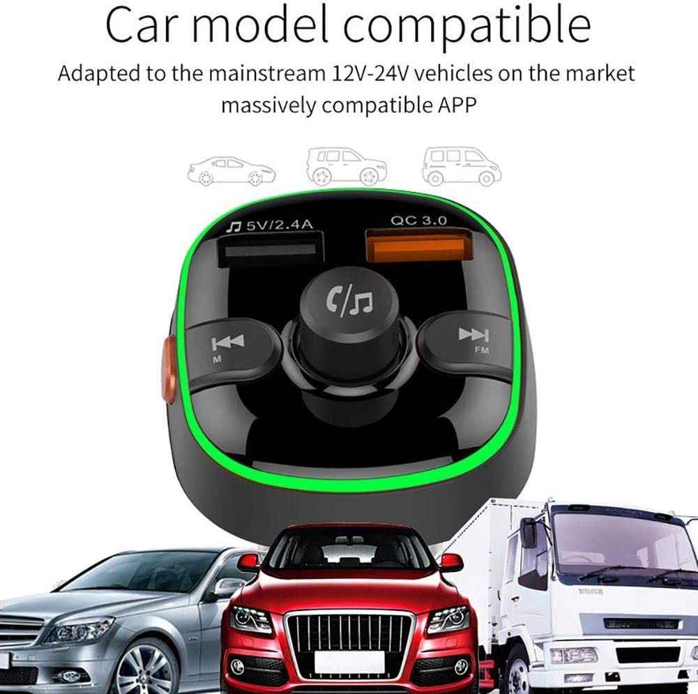 Alacritua Bluetooth Transmitter for Car Wireless Bluetooth FM Radio Adapter,QC3.0 USB Wireless Bluetooth Audio Adapter Music Player with Hands-Free Calls for Car,Support 32G Memory Expansion